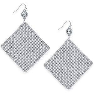 Thalia Sodi Silver Crystal Mesh Earrings